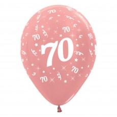 Teardrop Metallic Rose Gold 70th Birthday Latex Balloons 30cm Pack of 6
