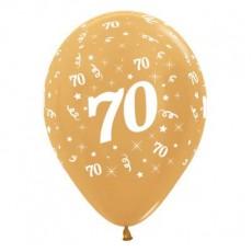 Teardrop Metallic Gold 70th Birthday Latex Balloons 30cm Pack of 6