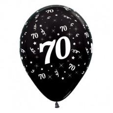 Teardrop Metallic Black 70th Birthday Latex Balloons 30cm Pack of 6