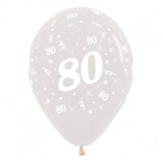 Teardrop Crystal Clear 80th Birthday Latex Balloons 30cm Pack of 6