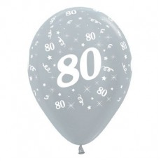 80th Birthday Satin Pearl Silver  Latex Balloons