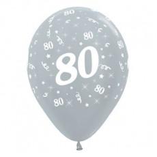 Teardrop Satin Pearl Silver 80th Birthday Latex Balloons 30cm Pack of 6