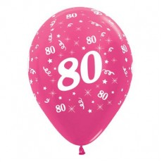 80th Birthday Metallic Fuchsia  Latex Balloons