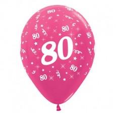 Teardrop Metallic Fuchsia 80th Birthday Latex Balloons 30cm Pack of 6