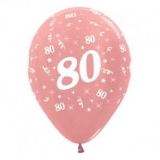 Teardrop Metallic Rose Gold 80th Birthday Latex Balloons 30cm Pack of 6