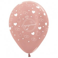Engagement Metallic Rose Gold Rings & Hearts Latex Balloons