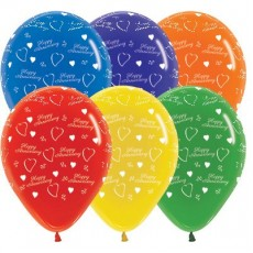 Anniversary Crystal Multi Coloured  Latex Balloons