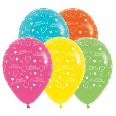 Anniversary Tropical Multi Coloured  Latex Balloons
