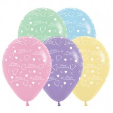 Anniversary Pastel Multi Coloured  Latex Balloons