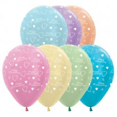 Anniversary Pearl Satin Multi Coloured  Latex Balloons