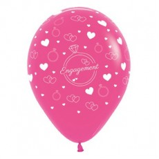 Engagement Fashion Fuchsia Rings & Hearts Latex Balloons