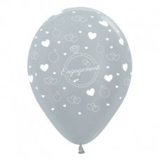 Engagement Party Decorations - Latex Balloons Rings & Hearts Pearl Silver