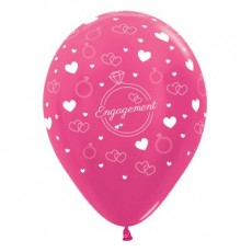 Engagement Metallic Fuchsia Rings & Hearts Latex Balloons