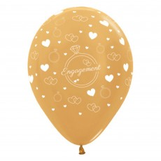 Engagement Metallic Gold Rings & Hearts Latex Balloons