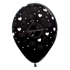 Engagement Metallic Black Rings & Hearts Latex Balloons