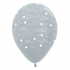Anniversary Party Decorations - Latex Balloons Satin Pearl Silver