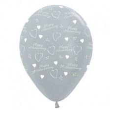 Anniversary Satin Pearl Silver  Latex Balloons