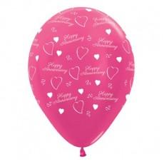 Anniversary Metallic Fuchsia  Latex Balloons