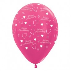 Anniversary Party Decorations - Latex Balloons Metallic Fuchsia