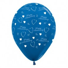 Anniversary Metallic Blue  Latex Balloons