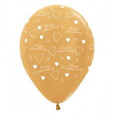 Anniversary Party Decorations - Latex Balloons Metallic Gold