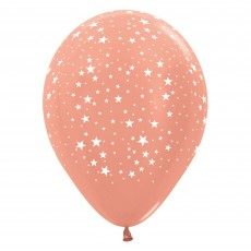 Pink Small Stars on Metallic Rose Gold Latex Balloons