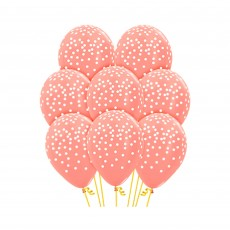 Pink Metallic Rose Gold with Confetti Latex Balloons