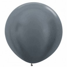 Metallic Graphite Silver Latex Balloons 90cm Pack of 2
