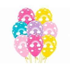 Fashion White with Rainbow Design Latex Balloons 30cm Pack of 12