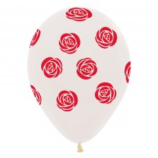 Red Roses on Crystal Clear Latex Balloons