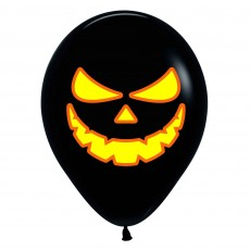 Halloween Fashion Black & Neon Orange Bright Pumpkin Scary Face Latex Balloons