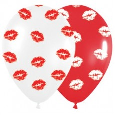 Love Red & White Kiss Me Kisses Latex Balloons