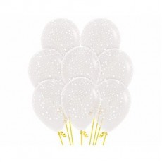Teardrop Small Stars on Crystal Clear Latex Balloons 30cm Pack of 12