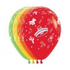 Mexican Fiesta Multi Coloured  Latex Balloons