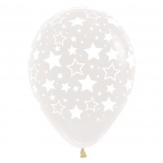 Clear Bold Stars Crystal Latex Balloons