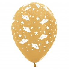 Graduation Metallic Gold Hats Latex Balloons