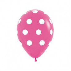 Dots & Stripes Fashion Fuchsia White Polka Dots Latex Balloons