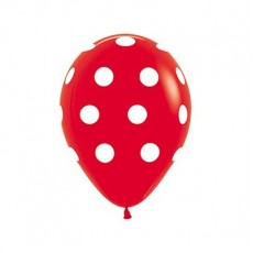 Teardrop Fashion Red with White Polka Dots Latex Balloons 30cm Pack of 12