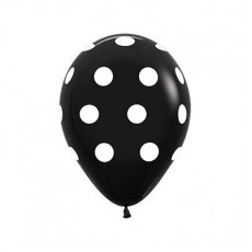Teardrop Fashion Black with White Polka Dots Latex Balloons 30cm Pack of 12