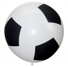Soccer Balls Black & White Print Latex Balloon