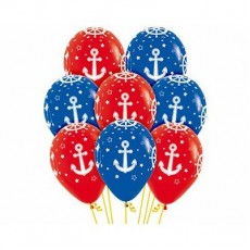 Multi Colour Fashion Red & Royal Blue with Nautical Design Latex Balloons