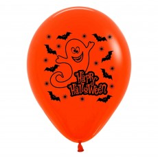 Halloween Fashion Orange & Black Night Ghost Latex Balloons