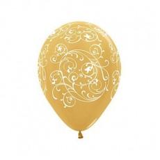 Gold Metallic Filigree Latex Balloons