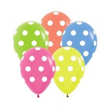 Dots & Stripes Neon Multi Coloured Polka Dots Latex Balloons