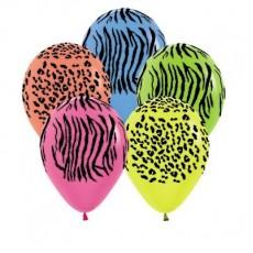 Jungle Animals Neon Multi Coloured Jungle Safari Animal Print Latex Balloons