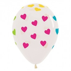 Love Neon Classic Hearts On Clear Latex Balloons