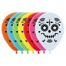 Halloween Multi Coloured Day of The Dead Catrina Latex Balloons