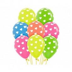 Love Neon Multi Coloured Classic White Hearts Latex Balloons