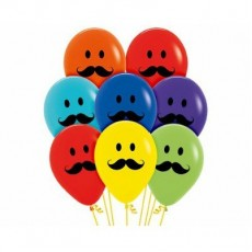 Moustache Multi Coloured Smiley  Faces Latex Balloons
