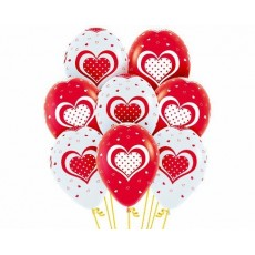 Red Fashion  & White Polka Hearts Latex Balloons